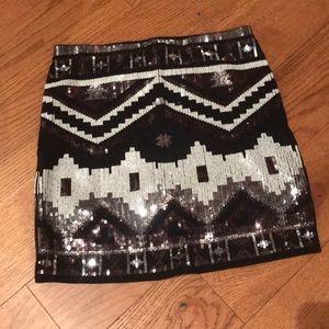 Express Aztec Print Black Sequin Mini